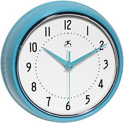 Turquoise Retro Wall Clock Metal Vintage Design Home Kitchen Decor, 9-1/2 Inch