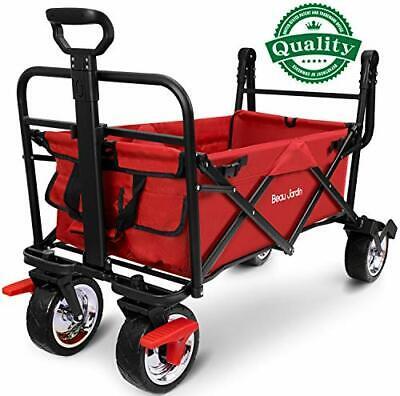 NEW BEAU JARDIN Folding Wagon Trolley Camping Cart with Brake 176lb Capacity