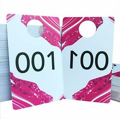 Durable Plastic Live Sale Number Tags Pink With Backwards Numbers On 001-100 - $22.77
