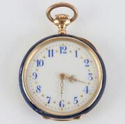 Enamel Pocket Watch 18K