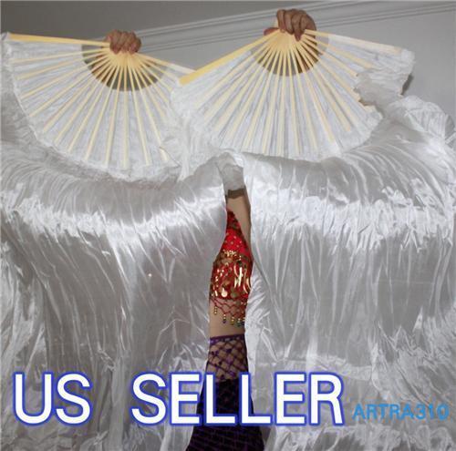 PAIRS 1.5M BELLY DANCE WHITE 100%SILK FAN VEILS / BELLY DANCE FANS