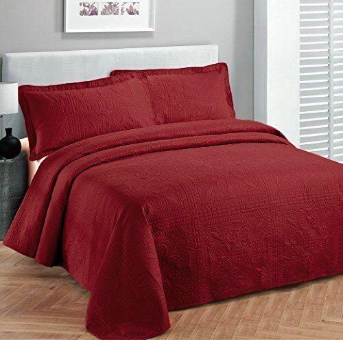 Fancy Linen Oversize Luxury Embossed Bedspread Solid Red All
