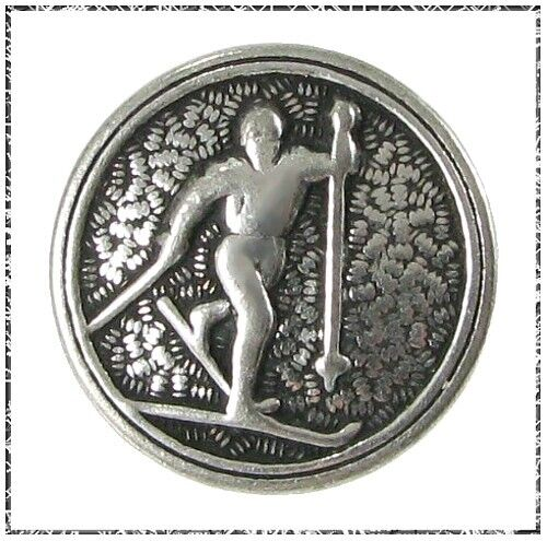 Vintage Norwegian Pewter Cross Country Skier Button
