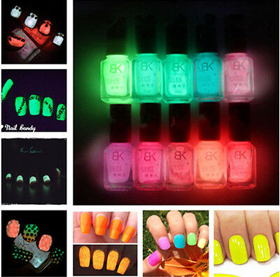 Candy Colors Neon Luminous Nail Art Polish Glow In Dark Varnish 7ML ...