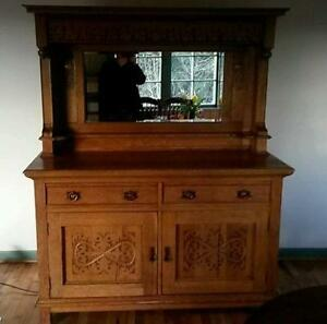 Bon Antique Buffet With Mirror