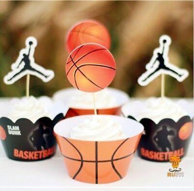 Basketball Birthday Decorations (24pcs Kids birthday Party Decoration Cupcake Wrappers Basketball Curry)