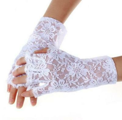 Brauthandschuhe Fingerlos Spitze Braut Handschuhe Weiß Blumen Kurz 20 cm