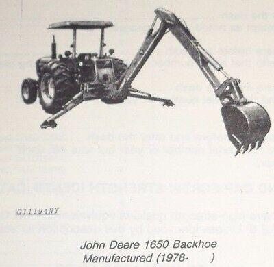 Original John Deere 1650 Backhoe For Tractors Parts Catalog Manual Book Jd
