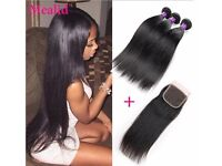 7a Brazilian straight Virgin hair 3 bundles With Closure(inquire about pricing for diffrent lenghts)