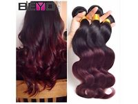4 Bundles Body Wave 1B/Burgundy 99j Brazilian Virgin Hair (inquire about pricing for lenghts)