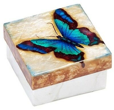 Kubla Craft Capiz Shell Swallowtail Butterfly Trinket Jewelry Gift Change Box