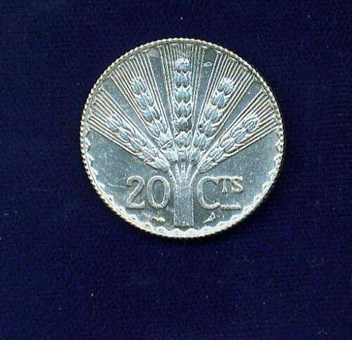 URUGUAY  1930  20 CENTESIMOS  UNCIRCULATED SILVER COIN