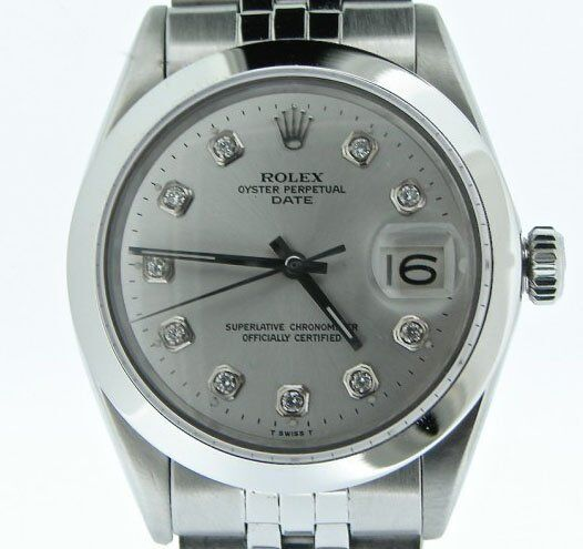 Men Rolex Date Stainless Steel Watch Jubilee Style Band Silver Diamond Dial 1500