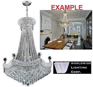 NEW 15 LIGHT CRYSTAL CHANDELIER Worldwide Lighting Chrome Finish Home Improvement  Lamps  Light Fixture 111247603