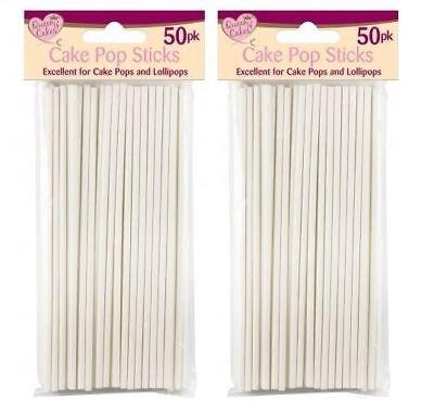 "100x White 6"" Plastic Lollipop Cake Pop Sticks Home Baking Craft Sweets"