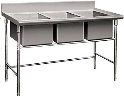 New Triple 3 Three Bay Commercial Stainless Stiletto Stoup Run Basin Flatland