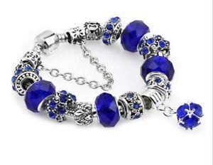 CADEAU NOEL - 50% - Superbe Bracelet bleu style PANDORA