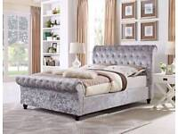 FREE Delivery Today BRANDNEW Top Quality Crushed Velvet Bed Silver Champagne Huge Savings