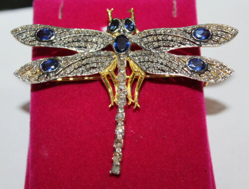 3.55ct ROSE CUT DIAMOND SAPPHIRE ANTIQUE VICTORIAN LOOK 925 SILVER BROOCH