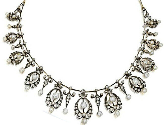 6.33ct Rose Cut Diamond Antique Look 925 Silver Pearl Gemstone Necklace