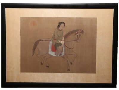 ANTIQUE ASIAN CHINESE EQUESTRIAN PORTRAIT OF WOMAN ON HORSEBACK WATERCOLOR SILK ()