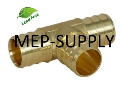 1 Pex Tee - Brass 1 Inch Crimp Fitting Lead Free - Lot Of 5