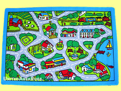 5x7  Area  Rug Play Road Driving Time  Street Car  Kids City Fun Time  New Gray