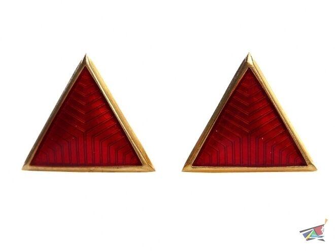 Collar rank insignia triangle enameled badges red green blue USSR RKKA VV NKVD