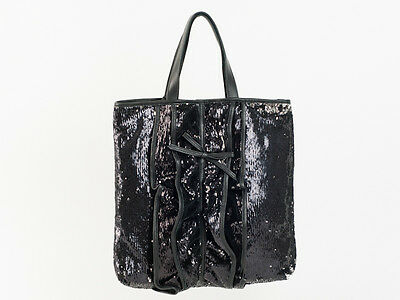 New  Red Valentino Black Sequined Ruffle Tote