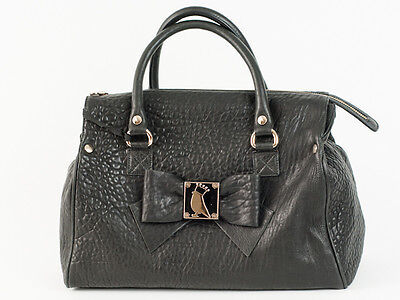 New   Red Valentino   Black Leather Small Top Handle  Handbag