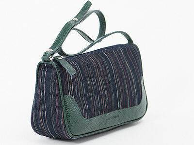 New Dolce & Gabbana Green & Navy Small Canvas Bag
