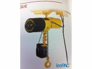Palan Électrique 1/2 ou 1 ou  2 tonne 110 ou  220 volt 10 a 20 pied chaines et panier sur mesure