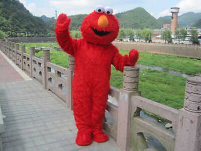 Sesame Street Outfits (Sesame Street Elmo RED/BLUE Monster Mascot Fancy Dress Costume Adult Size Outfit)