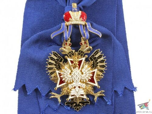 The Order of the White Eagle, Russian Imperial Order, gold plated, NEW, Replica