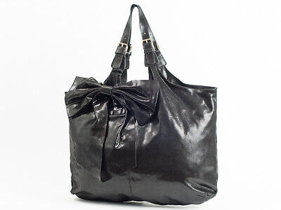 New  Red Valentino X Large Black leather Bow Tote