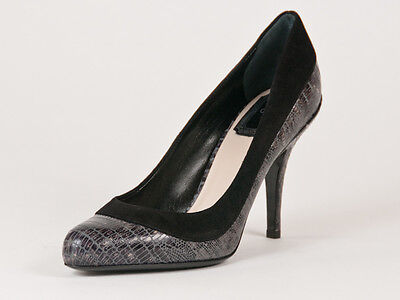 New  Christian Dior Duo Gray Leather Pumps 37 US 7