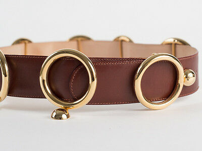 New Moschino Redwall Light Brown leather Belt Size EU 42