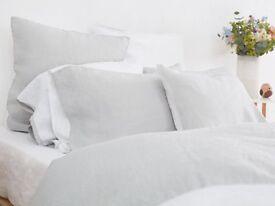 BRAND NEW - White / pale grey KING SIZE pure LINEN bedlinen set - worth £158