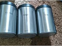 Brabantia tea sugar coffee cannister pot set