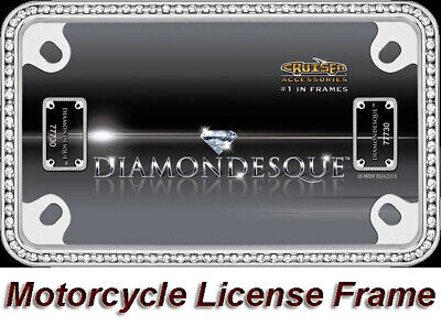 Chrome Diamonds/Crystals Bling Metal Motorcycle License Plate/Tag Frame 1 Holder