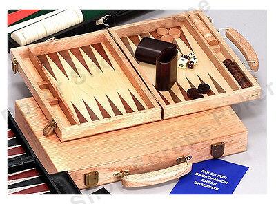 Deluxe Wooden Backgammon Set (WOODEN BACKGAMMON SET DELUXE OAK CASE 15