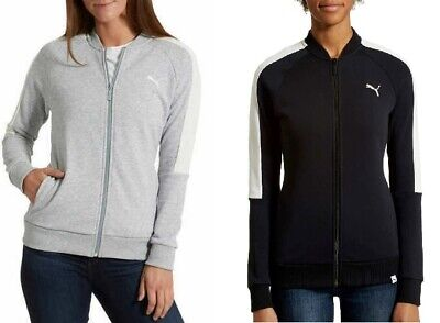 NEW! Puma Ladies Contrast Track Jacket, Choose Size / Color (Light Gray / Black)