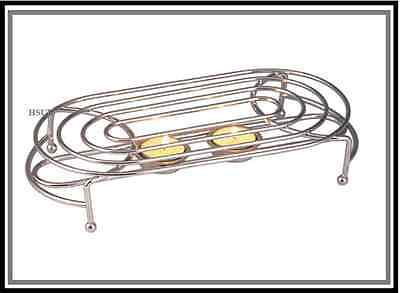 OVAL DOUBLE FOOD WARMER CHROME 2 TEA LIGHT CANDLES CHAFING DISH RACK STAND 3467 Chafing Rack