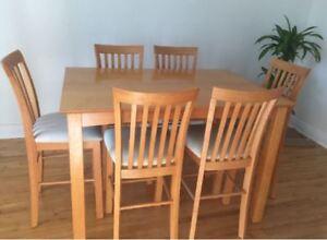 Ensemble de salle à manger en bois 8 places style bistro