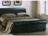 *Quick Sale* Brown Leather Sleigh Bed