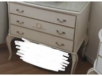 Vintage dressing table and chest of drawers. Both come with glass tops.