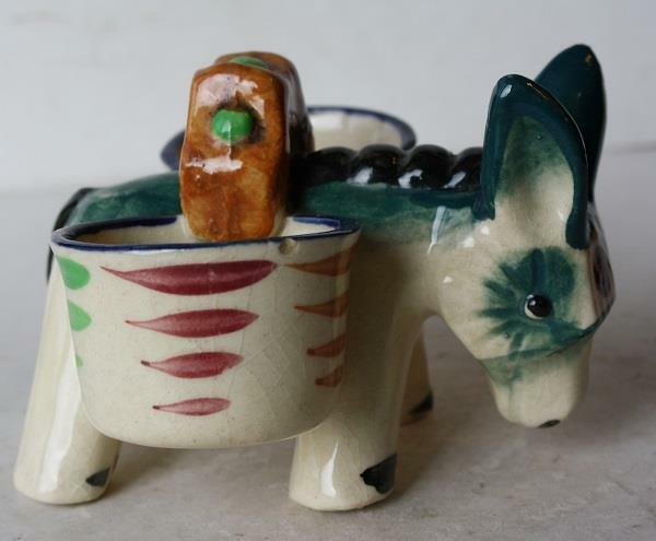 Donkey-Mule-Burro Figurine w-Baskets Ceramic-Pottery Hand Painted Made in Japan