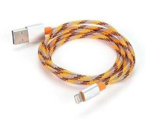 1M Apple Certified Nylon Braided Lightning Cable for iPhone iPod iPad - 3.28 ft. - Orange