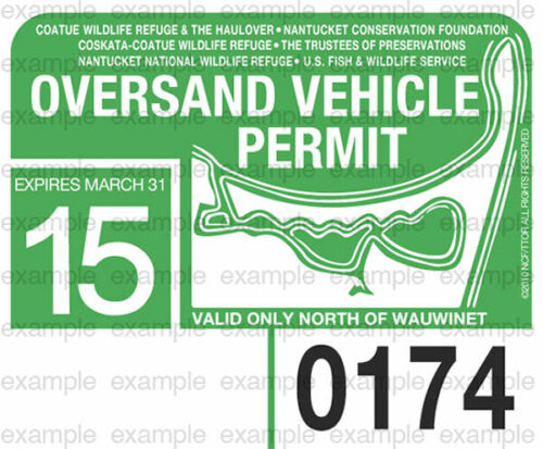 2015 Nantucket Oversand Vehicle Permit - ACK Beach Sticker Decal Great Point