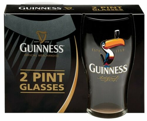 GUINNESS TOUCAN PINT GLASSES 2 PACK 20 oz  PREMIUM OFFICIALLY LICENSED